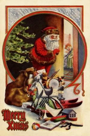 Uitstekende Kerstkaart van de Kerstman met giften, controleren om te zien of een kind slaapt Stockfoto