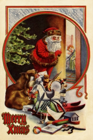 christmas costume: Vintage Christmas card of Santa Claus with gifts;checking to see if a child is asleep