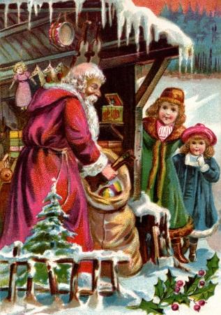 산타 클로스가 두 여자에게 선물을 전달하는 빈티지 크리스마스 카드 스톡 콘텐츠