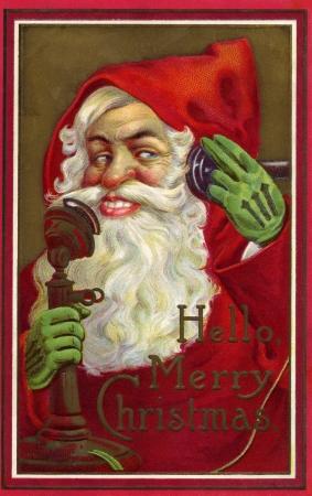 Vintage Christmas card of Santa Claus making a phone call Stock Photo - 14916391