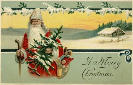 눈 덮인 겨울 장면에 산타 클로스의 빈티지 크리스마스 카드 스톡 콘텐츠