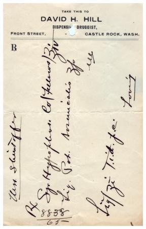 A vintage handwritten medical prescription