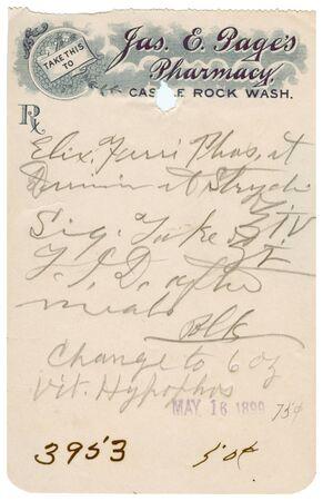 A vintage medical prescription