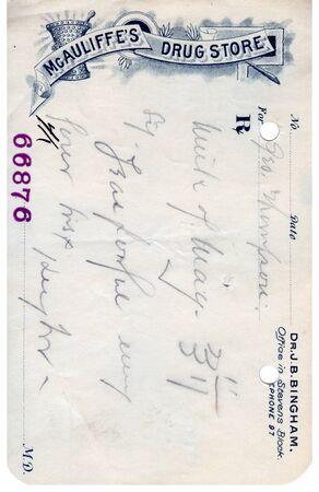 A vintage prescription from a drug store Фото со стока