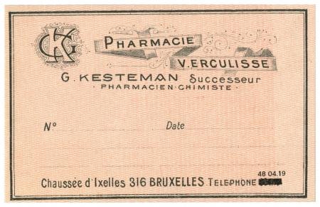 A vintage Belgian medical pharmacy label
