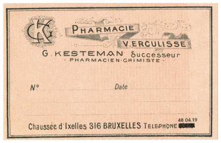 A Vintage Belgian Medical Pharmacy Label Stock Photo