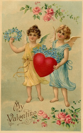 A vintage Valentine postcard with two angels holding a heart and forget-me-not flowers photo
