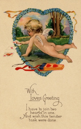 A vintage Valentines postcard with Cupid playing cards next to his bow and arrow
