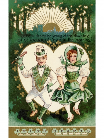 retro sunrise: A vintage St. Patricks Day card with a Irish boy and girl doing a jig Stock Photo