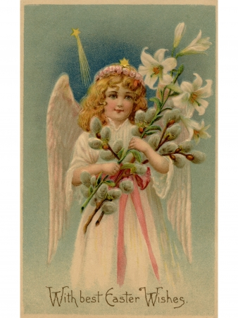 A vintage Easter postcard of an angel holding lilies Stock Photo