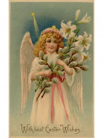 Een vintage Pasen ansichtkaart van een engel die lelies Stockfoto