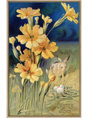 A vintage Easter postcard of spring flowers; a rabbit and eggs