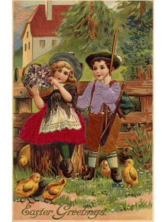 A vintage Easter postcard of a little boy and girl surrounded by chicks
