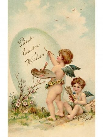 A vintage Easter postcard of two cherubs painting an Easter egg