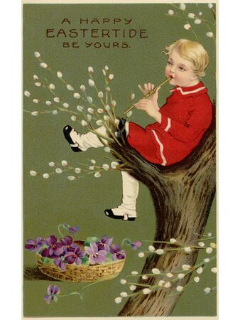 child sitting: A vintage Easter postcard of a basket of violets and a boy playing a flute in a pussy willow tree Stock Photo
