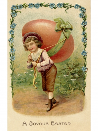 A vintage Easter postcard of a child with a large egg on his back