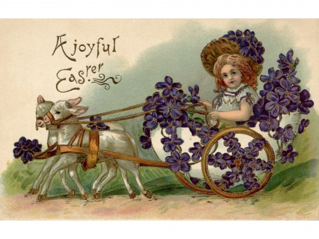 A vintage Easter postcard of a girl riding in a wagon full of violets being pulled by two lamb