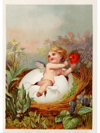 A vintage Easter postcard with a cherub holding a key and heart breaking out of an egg photo