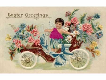 A vintage Easter postcard with a cherub riding an antique car full of flowers