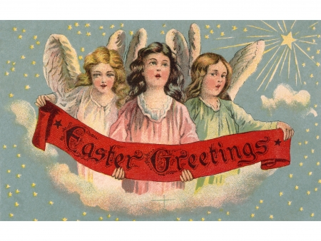 A vintage Easter postcard of three angels holding a banner Stok Fotoğraf