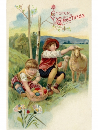 A vintage Easter postcard of two boys on an Easter egg hunt photo