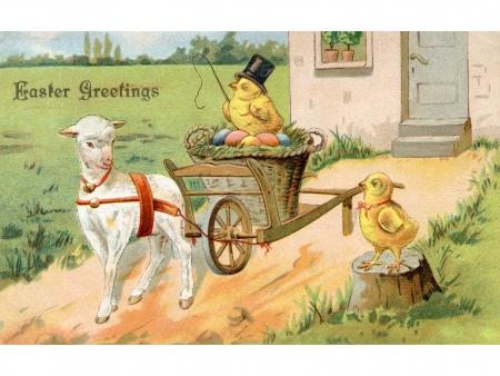 Een vintage Pasen ansichtkaart van een chick rijden op een Pasen wagen getrokken door een lam