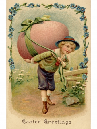 vintage postcard: A vintage Easter postcard of a boy with a large Easter egg on his back Stock Photo