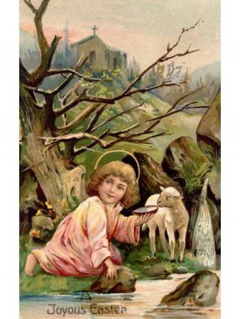 A vintage Easter postcard of a little angel with a lamb by the river with a church in the background Stok Fotoğraf