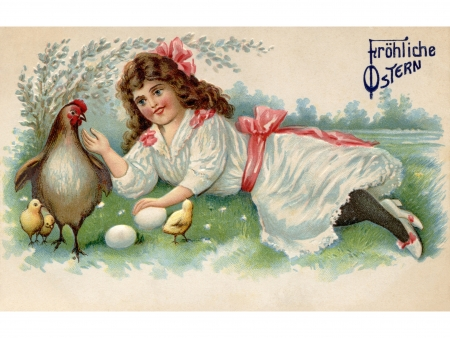 laying egg: A vintage Easter postcard of a girl with a hen; chicks and eggs on a farm Stock Photo