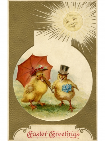 christian young: A vintage Easter postcard of a duckling and chick dressed up for Easter