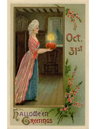 A vintage Halloween image of a woman dressed in Victorian attire carrying an illuminated pumpkin