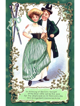 An Irish poem printed on a vintage card with an illustration of a dancing couple illustration