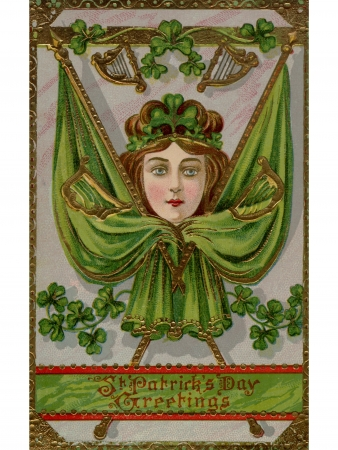 A vintage St. Patricks Day Souvenir card with images of a woman; flags and harps Stock fotó
