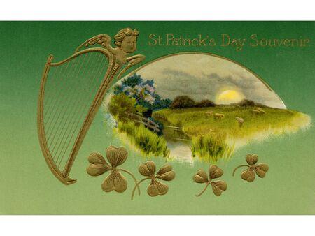 빈티지 성 패트릭의 날 기념 카드 스톡 콘텐츠