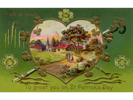 irish landscape: A vintage card of a rural Irish landscape in a heart shaped frame