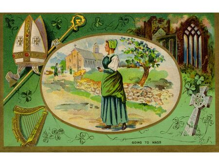 irish woman: A collage of Irish symbols and a woman attending mass