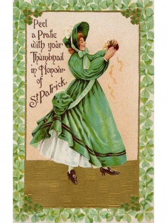 A vintage card of a woman peeling a pratie in honor of St Patrick photo