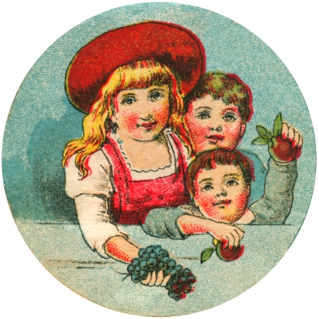 times up: Antique image of three children