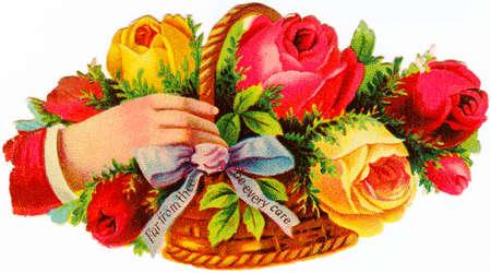 花のバスケットを持っている手
