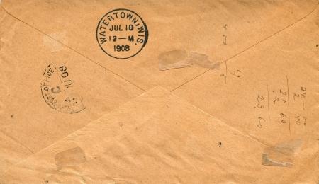vintage envelope: la parte posterior de un sobre de la vendimia Foto de archivo