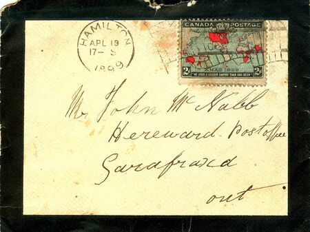writing western: vintage envelope with black border Stock Photo