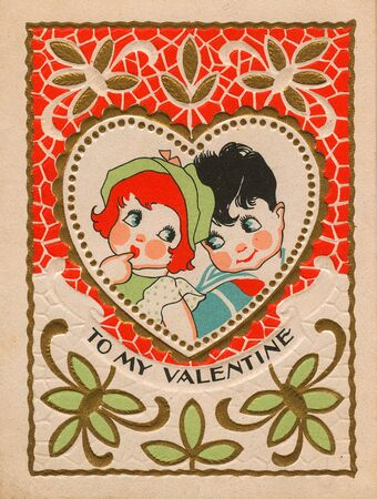 western script: A vintage valentine with a boy and girl Stock Photo