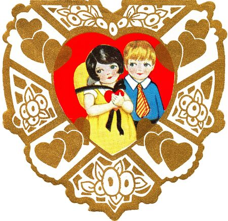 A vintage valentine of a boy and girl photo