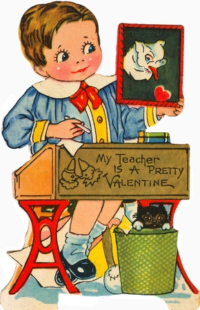 A vintage valentine of a little boy holding a picture of a dog Stock fotó