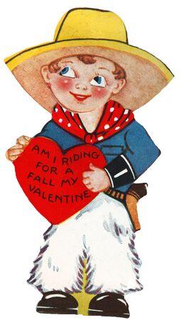 romance: A boy dressed as a cowboy holding a valentine.