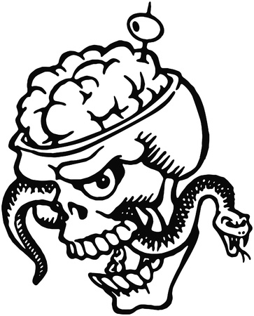 A black and white version of a skull with bulging brains and a snake and olive filled tooth pick photo
