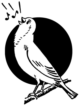 birdsong:  A black and white version of a bird sitting on a tree branch singing situated in front of the sun