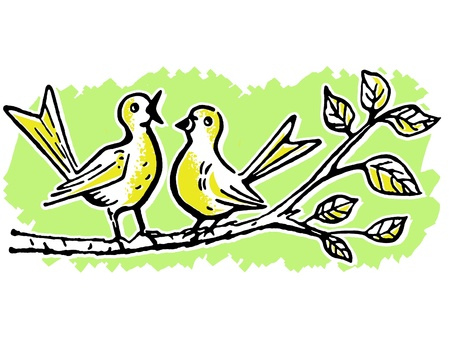 perched:  Two birds on a tree branch singing