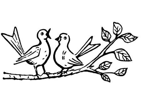 A black and white version of two birds on a tree branch singing