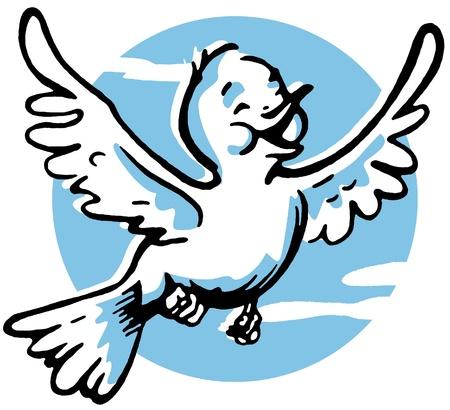 midair:  A happy looking bird flying Stock Photo